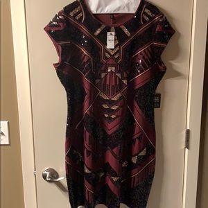 Express Aztec Sequin Burgundy Dress